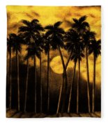 Moonlit Palm Trees In Yellow Fleece Blanket