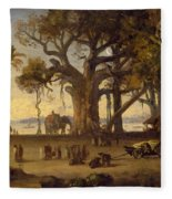 Moonlit Scene Of Indian Figures And Elephants Among Banyan Trees Fleece Blanket