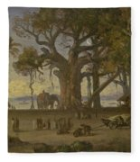 Moonlit Scene Of Indian Figures And Elephants Among Banyan Trees. Upper India Fleece Blanket