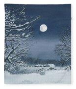 Moonlit Snowy Scene On The Farm Fleece Blanket