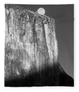 M-m6506-e-bw-moonrise Over El Capitan At Sunset  Fleece Blanket