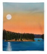 Moonrise Over The Lake Fleece Blanket