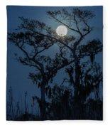 Moonrise Over Wetlands Fleece Blanket