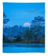 Moonset At The Hungryland Fleece Blanket