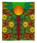 Moonshine Over The Golden Sacred Pond  Fleece Blanket