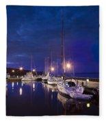 Moored Sailboats Fleece Blanket