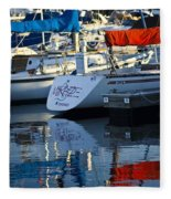 Moored Sailboats Fleece Blanket