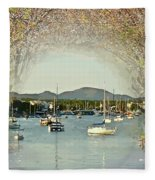Moored Yachts In A Sheltered Bay Fleece Blanket