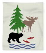 Moose And Bear Pattern Art Fleece Blanket