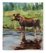 Moose At Henry's Fork Fleece Blanket