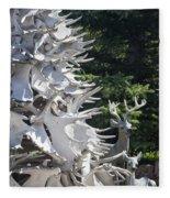 Moose Horn Tree Fleece Blanket