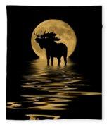 Moose In The Moonlight Fleece Blanket