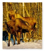 Moose In The Morning Fleece Blanket