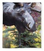 Moose In Vail Fleece Blanket