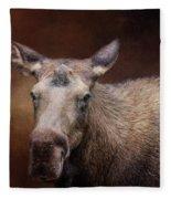 Moose Portrait Fleece Blanket