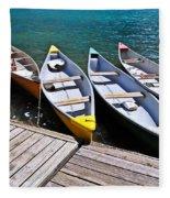 moraine lake in banff national park, alberta, Canada Fleece Blanket
