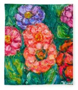 More Zinnias Fleece Blanket