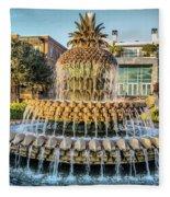 Morning At Pineapple Fountain Fleece Blanket
