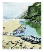 Morning At Porto Novo Beach Fleece Blanket