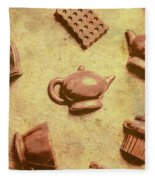 Morning Breakfast Chocolate Tea Set  Fleece Blanket