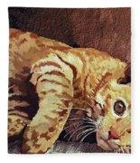 Morning Cat Fleece Blanket