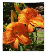 Morning Daylilies Fleece Blanket