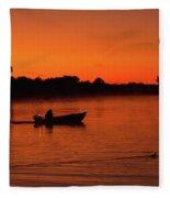 Morning Fishing On The Lake Fleece Blanket