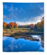 Morning Fog On The Moose River Fleece Blanket