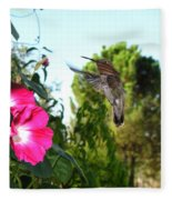 Morning Glories And Humming Bird Fleece Blanket