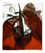 Morning Glory Canna Red Fleece Blanket