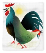 Morning Glory Rooster And Hen Wake Up Call Fleece Blanket