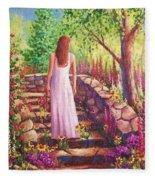 Morning In Her Garden Fleece Blanket