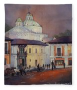 Morning In The Plaza- Quito, Ecuador Fleece Blanket