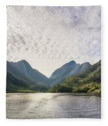 Morning Light Hitting The Docks At Doubtful Sound In New Zealand Fleece Blanket