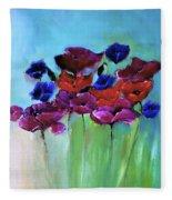 Morning Light Poppies Painting Fleece Blanket