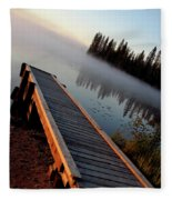Morning Mist Over Lynx Lake In Northern Saskatchewan Fleece Blanket