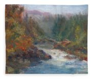 Morning Muse - Original Contemporary Impressionist River Painting Fleece Blanket