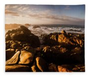 Morning Ocean Panorama Fleece Blanket