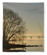 Morning On The Bay Bridge Fleece Blanket
