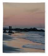 Morning On The Beach At Cape May Fleece Blanket