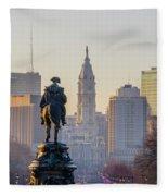 Morning On The Parkway - Philadelphia Fleece Blanket