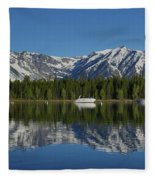 Morning Reflection Boats On Colter Bay Fleece Blanket