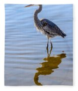 Morning Reflections Of A Great Blue Heron Fleece Blanket