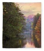 Morning River View  Fleece Blanket