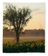 Morning Sunflowers Fleece Blanket