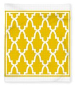 Moroccan Arch With Border In Mustard Fleece Blanket
