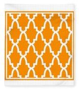 Moroccan Arch With Border In Tangerine Fleece Blanket