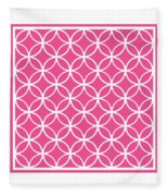 Moroccan Endless Circles I With Border In French Pink Fleece Blanket