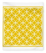 Moroccan Endless Circles I With Border In Mustard Fleece Blanket