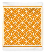 Moroccan Endless Circles I With Border In Tangerine Fleece Blanket